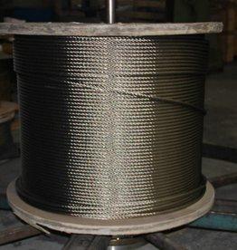 Staalkabel op rol 7x19 1000 mtr. haspel  AISI-316,