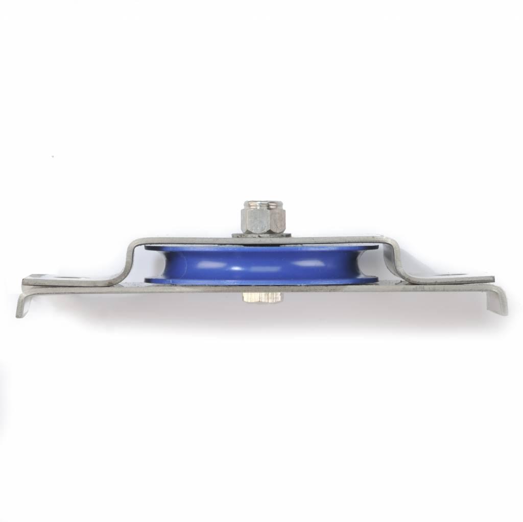 Rvs katrol liggend model, blauw, 60mm
