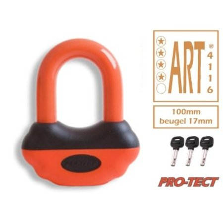 Protect Beugelslot - Schijfremslot art klasse 4 Zwart/Oranje