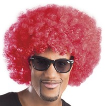 Pruik afro rood