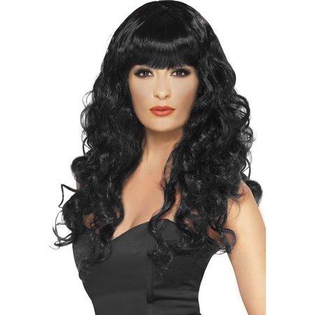 Pruik Siren lang haar zwart