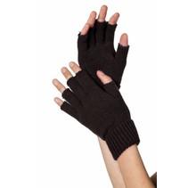 Vingerloze handschoenen zwart gebreid