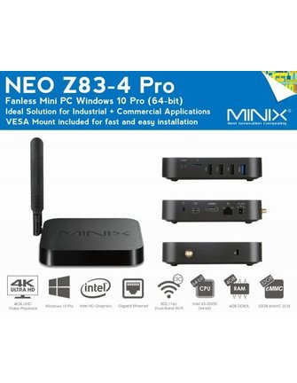 MiniX NEO Z83-4 PRO 64-BIT WINDOWS 10 PRO SERIE MINI PC / TV BOX MET VESA MOUNT