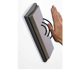 """Elbow switch with Stainless Steel strike plate and """"Touchless Scan"""""""