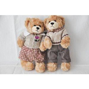 Clayre & Eef Broer en zus beer met gebreide truitjes
