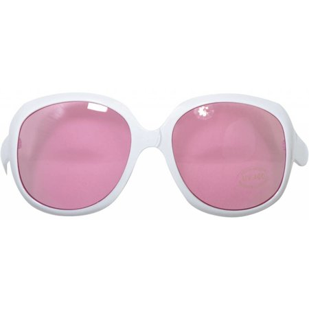 Feestbril groot roze/wit
