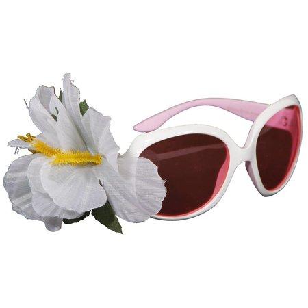 Feestbril Hawaii wit met bloem
