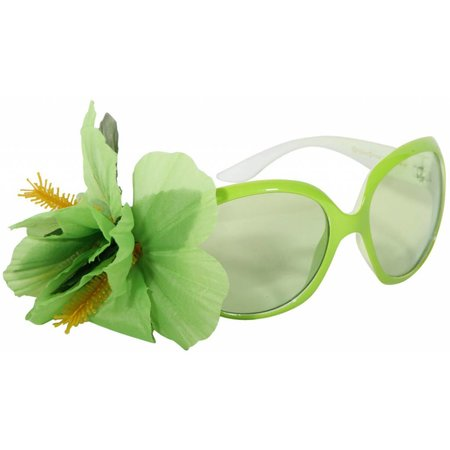 Feestbril Hawaii lime groen met bloem