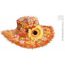 Hoed Ibiza met zonnebloem oranje