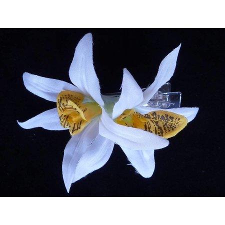 Hawaii haarbloem Wit/Geel