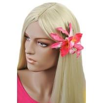 Hawaii bloem Roze/Wit