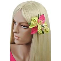 Hawaii bloem Groen/Roze