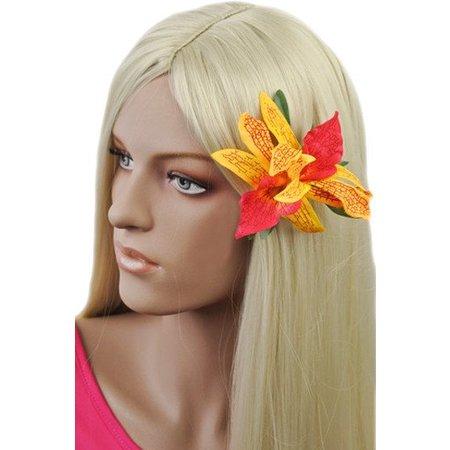 Hawaii haarbloem Geel/Roze