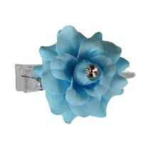 Haarbloem Roosje met strass steen Blauw