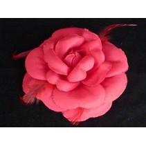 Haarbloem/Broche roos rood