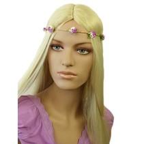 Haarband Roosjes Paars/Wit