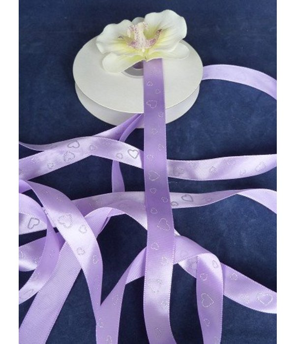 Satijnlint 'hartjes' paars