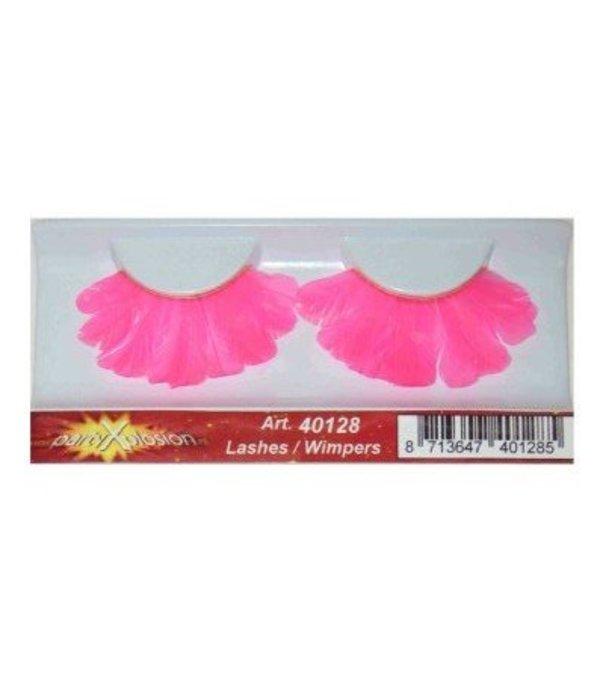 Wimpers veren roze