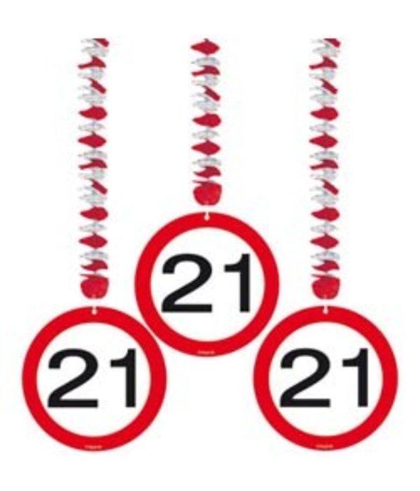 Hangdecoratie verkeersbord 21
