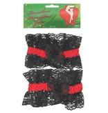 Kousenband luxe zwart - rood