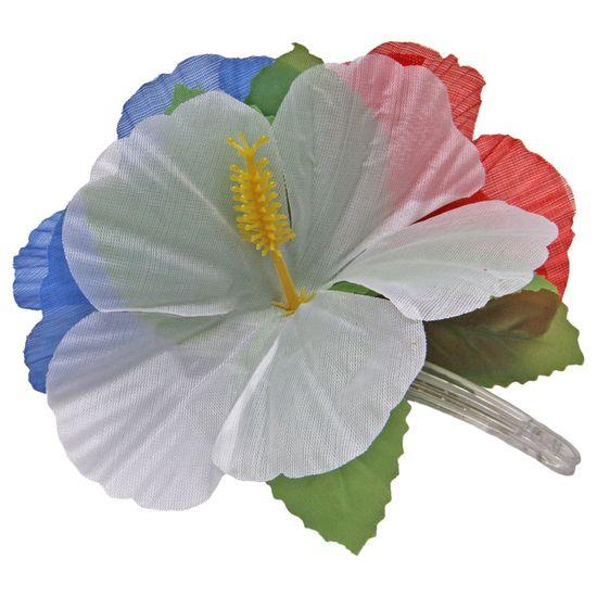 Haarclip bloemen rood/wit/blauw