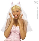 Bruidssluier met roze duivelhoorntjes