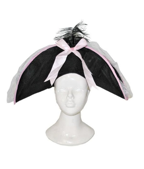 Piratenhoed zwart/roze