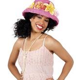 Hawaii hoed roze met bloemen