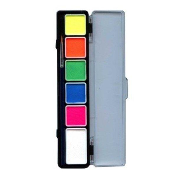 Aqua schminkpallet 6 neon kleuren