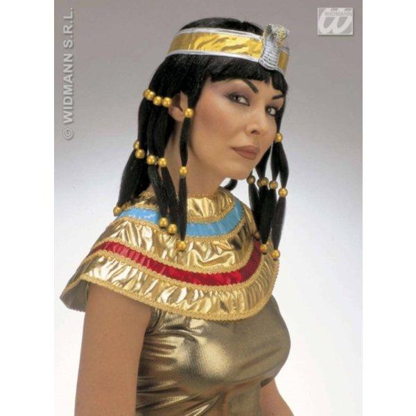 Pruik Cleopatra inclusief hoofdband en kraag