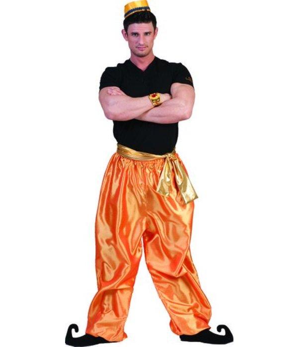 Broek Ali Baba deluxe goud/oranje met band