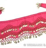 Ceintuur buikdanseres roze met gouden muntjes