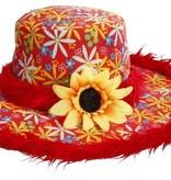 Hoed Ibiza met zonnebloem Rood