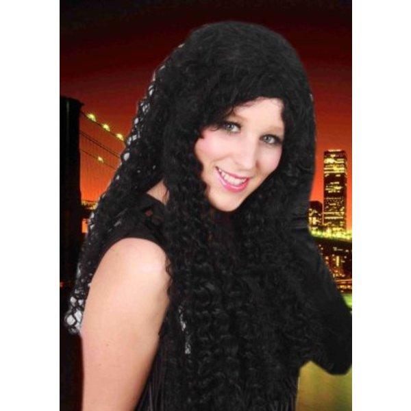 Pruik Katja zwart lang
