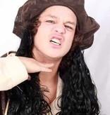 Hoed caribische piraat + zwart haar