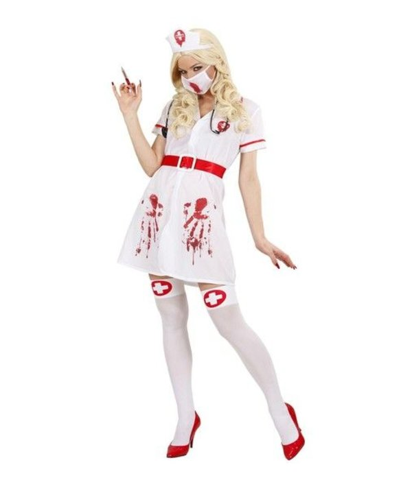 Horror bloederige verpleegster kostuum