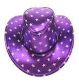 Stetsonhoed metallic paars met sterren
