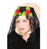 Spaanse hoed met kant + bloem