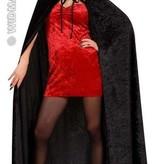 Fluwelen lange zwarte cape 150cm