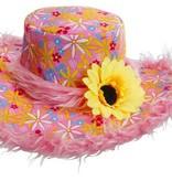 Hoed Ibiza met zonnebloem roze