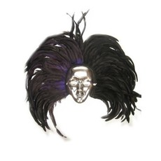Masker zilver met hoofdtooi veren zwart