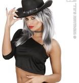 Cowboyhoed zwart met strass band