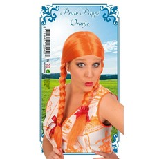 Pruik Oranje met vlechten Tess