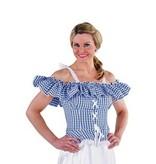 Carmen blouse Tirol blauw-wit