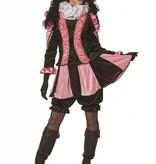 Zwarte Pieten pak dames roze/zwart luxe