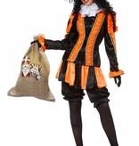 Dames pietenpak oranje/zwart luxe