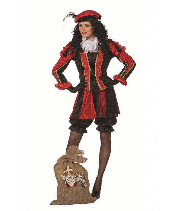 Zwarte pieten pak vrouw rood/zwart luxe