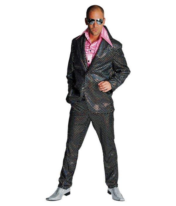Disco glitter kostuum elite zwart