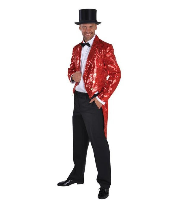 Slipjas pailletten gevoerd rood luxe