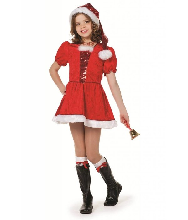 Kerstmeisje pailletten+muts